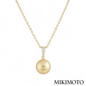 Mikimoto Diamond and Pearl Morning Dew Pendant 0.24ct E+/VS1